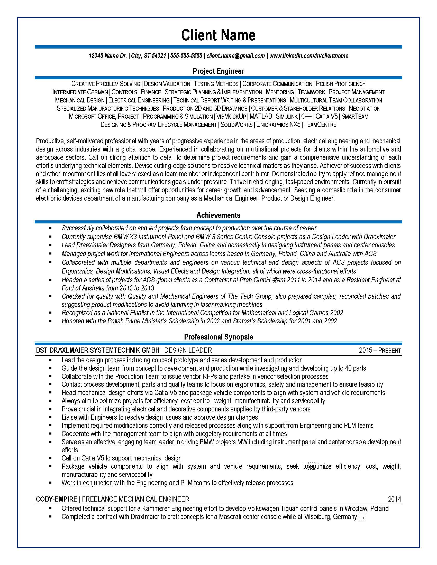 engineer resume samples